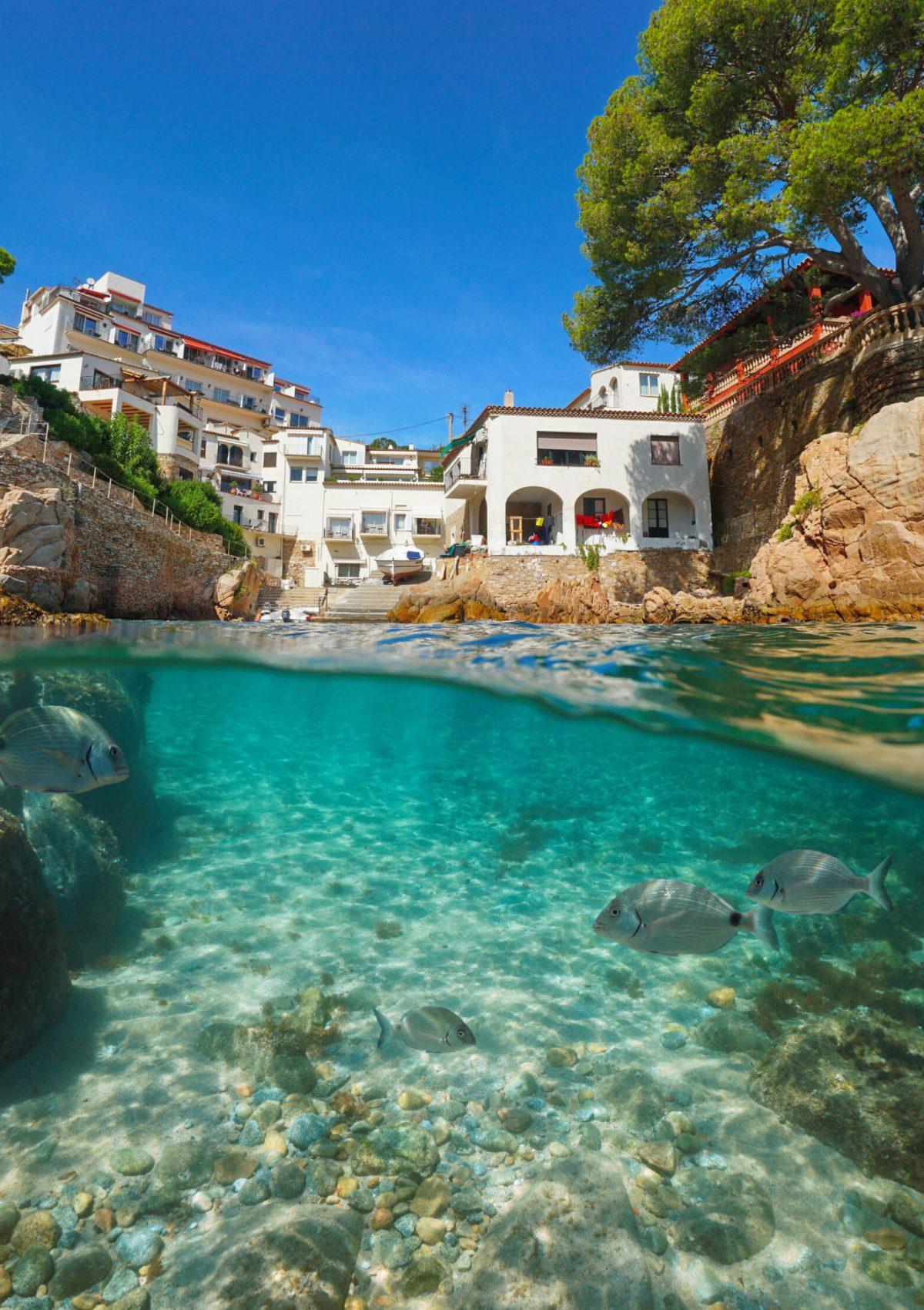 Spain Costa Brava typical village on the Mediterranean coast and fish underwater, Fornells de Mar, split view half above and below sea surface, Begur, Catalonia